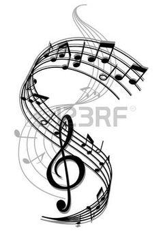cle de sol: L'art abstrait musique de fond avec des notes de musique…