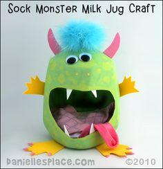 Sock Milk Jug Monster from www.daniellesplace.com