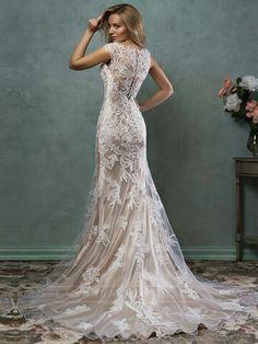Luxury Mermaid V-neck Lace Wedding Dress with Illusion Back - Like the lace overlay (b)