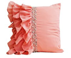 Peach ruffled throw pillows  Ruffle pillow  16X16   by AmoreBeaute. Maybe a bit girly for me, but still very sexy!
