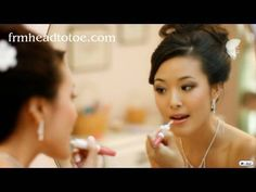 Asian Bridal Makeup Tutorial- like the lip colour in this one Asian Wedding Makeup, Asian Makeup, Wedding Hair And Makeup, Korean Makeup, Korean Skincare, Bridal Makeup Videos, Bridal Makeup Looks, Bridal Beauty, Braut Make-up Videos