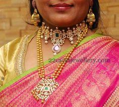 Jewellery Designs: Diamond Choker Temple Haram