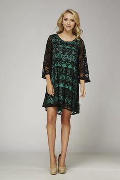 Black Lace Mint Underlay Dress