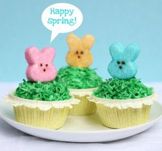 Totally adorable!!  Peepcakes - cupcakes with homemade Peeps (from 52kitchenadventures.com)