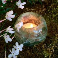 Stunning Fluorite Tealight Holder - Magical Altar Decoration Created from the Stone of Clear Sight - Sage Goddess $50