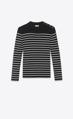 02d1ec97be4 SAINT LAURENT Knitwear Tops Woman Striped sailor sweater in a black and  silver V4 Saint Laurent
