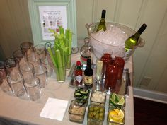 Bloody Mary bar- here ya go Pride Party Drinks, Cocktails, Party On Garth, Brunch Bar, Bloody Mary Bar, Brunch Wedding, Summer Bbq, Easter Brunch, Appetizer Recipes