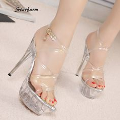 56.14$ Buy now - http://alir0y.shopchina.info/go.php?t=32719314844 - 2016 New Clear PVC Heels Extreme High Thin Clear Heels Transparent Shoes Sexy Platform Pumps Crystal Sandals STARFARM-SFDX-008 #aliexpresschina