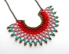 Items similar to Peyote beaded Turquoise and Orange Mexican Contemporary Necklace OCEAN SUNSET handmade by Luciana Lavin on Etsy Short Necklace, Moon Necklace, Beaded Necklace, Beaded Bracelets, Necklaces, Bead Jewellery, Seed Bead Jewelry, Beaded Collar, Beaded Jewelry Patterns