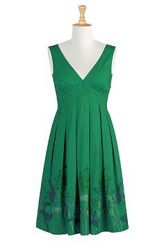 Floral pleat waist dress