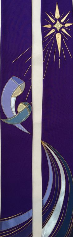 Mary and jesus purple advent priest stole Church Banners Designs, Church Design, Christian Symbols, Christian Art, Beautiful Christmas Scenes, Baptism Banner, Mary And Jesus, Altar Decorations, Christmas Banners