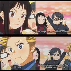 Emi, Kousei & Takeshi They was so adorable with those egg sandwiches lol