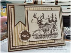 """airbornewife's stamping spot: Masculine card for challenge """"DAD"""" Noble Deer card"""