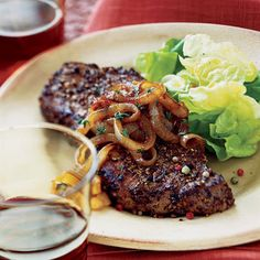 Pepper Steaks with Balsamic Onions and Cabernet Sauvignon