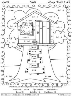 Education Discover Spring Math Coloring Sheets New May Math & Spring Math Printables Color by Codes Maths Puzzles Math Worksheets Math Activities Math Addition Addition And Subtraction Magic Treehouse Grade Math Grade 1 Math Facts 3rd Grade Math Worksheets, 1st Grade Math, Kindergarten Math, Teaching Math, Grade 1, Number Worksheets, Teaching Spanish, Maths Puzzles, Math Activities