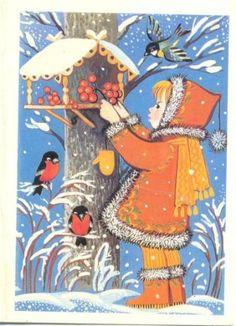 Vintage Soviet Christmas Card ~ Little Girl in Orange Old Time Christmas, Christmas Bird, Merry Christmas Card, Christmas Past, Retro Christmas, Vintage Christmas Cards, Christmas Pictures, Xmas Cards, Photo Postcards