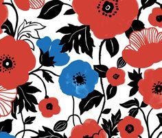 Poppy Field fabric by chulabird on Spoonflower - custom fabric