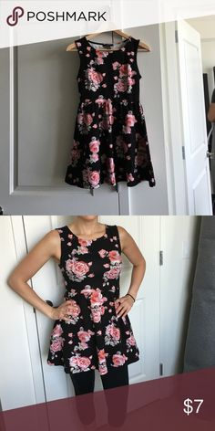 Black & rose cotton dress/shirt I wear this with leggings because it is a little short for me. I'm 5'5 for reference. Forever 21 Dresses Mini