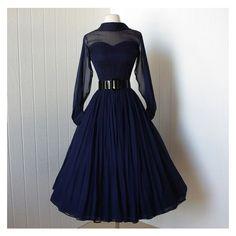 vintage 1950's dress beautiful navy silk chiffon full skirt bombshell... ❤ liked on Polyvore featuring dresses, sheer sleeve cocktail dress, vintage cocktail dresses, blue dress, navy blue cocktail dress and full skirt