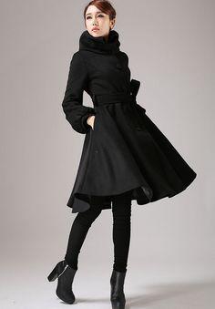 Black wool jacket shawl collar coat winter jacket warm by xiaolizi
