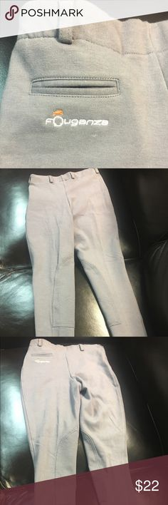 Fouganza Equestrian Decathlon LadyJodhpurs Size 4 Fouganza Decathlon Ladies Pull-On Jodhpurs  High Rise, Equestrian Clothing, Paddock Pant Color: Gray Size: 4 This is a European Company/Line.  Please keep in mind that these are a high waisted pant with no zipper, so while they are true to the US Size of 4, it does take some stretch to get over the hip area.  They are mostly cotton so they will shrink in the wash.  Very soft Fouganza Decathlon Pants