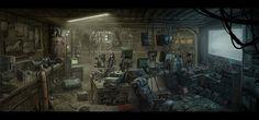 Cinder's mechanic shop ~ Nerdcave, Mac Smith on ArtStation at https://www.artstation.com/artwork/nerdcave