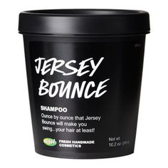 "Jersey Bounce. I have recently fallen in love with LUSH! Among the other products I fawn over includes, Jersey Bounce. JB is one of their shampoos, and if you have fine, coarse hair and looking for a volume lift then this is for you! It has seriously helped to give my hair, well, ""bounce."""