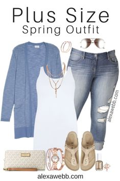Curvy Outfits, Plus Size Outfits, Cool Outfits, Casual Outfits, Cardigan Outfits, Blue Cardigan, Plus Size Cardigans, Look Plus, Spring Outfits Women