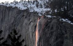 Every February Yosemite waterfall turns to lava