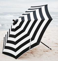 Sunbrella Round Umbrella-Black and White Stripe Shade Umbrellas, Umbrellas Parasols, Outdoor Umbrellas, Under My Umbrella, Beach Umbrella, White Umbrella, Sun Umbrella, Market Umbrella, Umbrella Stands
