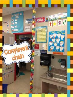 Love the compliment chain. It starts at the ceiling and each time students earn a compliment from a specials teacher or they get a compliment in the hall, add a link. When the chain hits the floor, the class get some sort of compliment party.