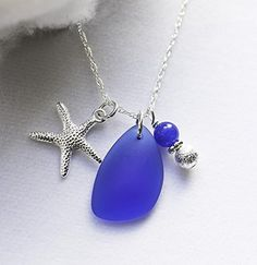 Glass Necklace, Cobalt Blue Recycled Sea Glass, Sterling Silver Necklace, Starfish Necklace, Cobalt Blue Jewelry >>> Continue to the product at the image link.