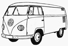 VW Type 2 Bulli box van from 1950 192 KByte - Vintage and Retro Cars Vw Bus, Volkswagen Transporter, Combi Hippie, Combi Ww, Silkscreen, Beach Mural, Cars Coloring Pages, Bmw Autos, Coloring Pages For Boys