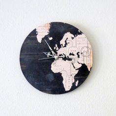 Unique Wall Clock, Home and Living, Map Clock, Black Decor, Decor & Housewares, Living Room Decor, Unique Gift