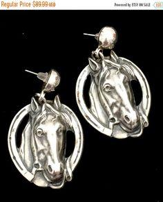 Equestrian Sterling Silver Earrings, 925 Sterling Silver Dangle Earrings, Wonderful Repousse Silver Work Horse's Head, Stylized Horse Shoe