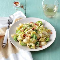 Pasta with Bacon, Shredded Brussels Sprouts, and Lemon Zest | MyRecipes.com