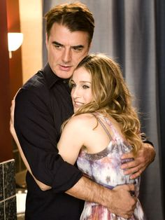"Chris Noth (as John James Preston) and Sarah Jessica Parker (as Carrie Bradshaw) in ""Sex and the City"" (TV Series) Sarah Jessica Parker, Kristin Davis, Carrie Bradshaw, Suzy, Carrie And Mr Big, Chris Noth, Beaux Couples, Kim Cattrall, Movie Couples"
