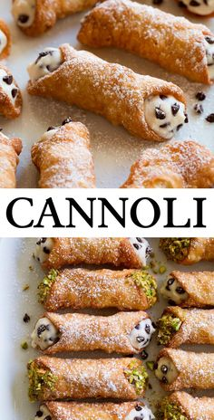 The best Cannoli! Made with a flaky, crisp shell enclosing this decadently creamy, sweet ricotta filling which is dotted with dark chocolate chips. Italian Dinner Recipes, Italian Desserts, Köstliche Desserts, Delicious Desserts, Dessert Recipes, Italian Cooking, Italian Snacks, Healthy Italian Recipes, Italian Dinners