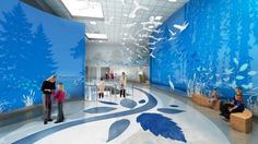 digitally printed large scale wall covering & floor pattern [The Pond Nationwide Childrens Hospital]