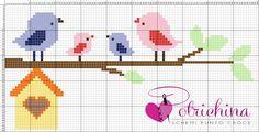 nido, uccellini, primavera, casa dolce casa - schemi punto croce - cross Stitch - Kreuzstich - Punto de Cruz