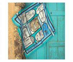 Grecian Chic | 'Grecian Village' Silk Scarves by Elena Zournatzi
