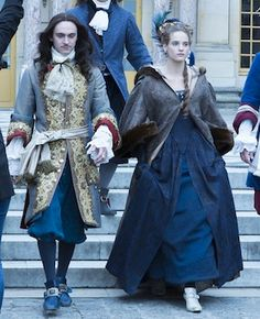 George Blagden as Louis XIV and Henriette (Noémie Schmidt) in Versailles (TV Series, Versailles Bbc, Versailles Tv Series, Milady De Winter, George Blagden, Rococo Dress, 17th Century Fashion, The White Princess, Rococo Fashion, Theatre Costumes
