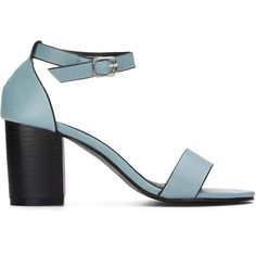 Yoins Blue Ankle Strap Peep Toe Chunky Heel Leather Look Sandals (437.445 IDR) ❤ liked on Polyvore featuring shoes, sandals, yoins, blue, summer shoes, ankle tie sandals, ankle strap shoes, peep-toe shoes and peep toe sandals