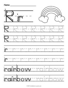 Free Printable Tracing Letter R Worksheet Grade R Worksheets, Free Printable Alphabet Worksheets, Handwriting Worksheets For Kids, Letter Worksheets For Preschool, Preschool Letters, Tracing Worksheets, Preschool Phonics, Handwriting Alphabet, Infant Activities
