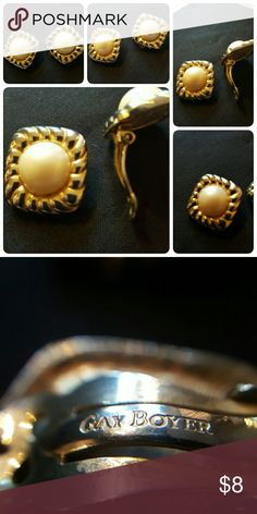 """Vintage Clip on Earrings by Gay Boyer These are a beautiful pair of signed Gay Boyer Clip on earrrings. Goldtone with a Pearl like stone in the center. Measures approximately 1"""" by 1"""" Jewelry Earrings"""