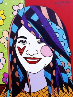 Original painting by the Brazilian artist Romero Britto