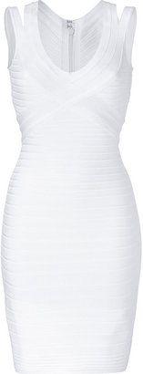 ShopStyle: Herve Leger White V-Neck Bandage Dress