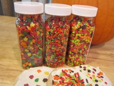 Fall Thanksgiving Baking Sprinkles ~ Set of 3 Jars~