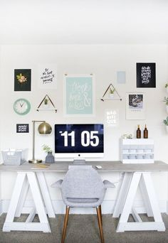 What do you need, exactly, to create a little home office corner in a bedroom or spare room or even your living room? Home Office Space, Office Workspace, Home Office Decor, Office Furniture, Home Decor, Organized Office, Office Spaces, Office Ideas, Rustic Office
