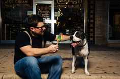 Downtown Austin Engagement Shoot at candy shop with pet dog by AzulOx Photography | Two Bright Lights :: Blog